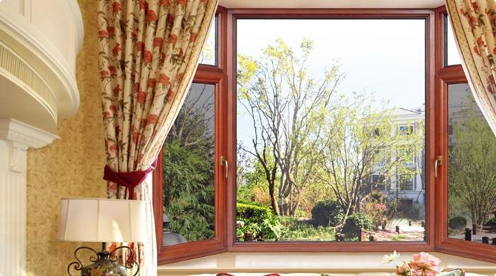110系列金钢纱一体铝包木门窗