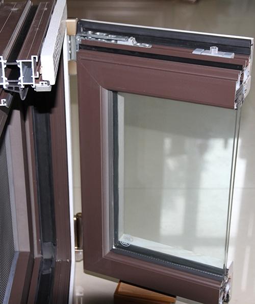 100系列铝木复合窗纱一体样角